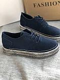 Мокасины,кеды, туфли слипоны синего цвета из натуральной замши, фото 2