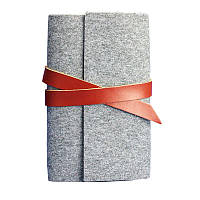 Фетровый блокнот (Софт-бук) Blanknote 1.0 Фетр с кожаными коричневыми вставками