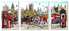 Картина по номерам Триптих Очарование Англии Триптих 1 50 х 50 см, 2 по 30 х 50 см (с коробкой)