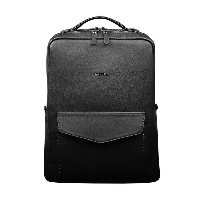 Кожаный женский городской рюкзак на молнии Blanknote Cooper черный