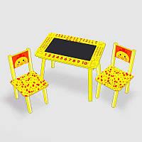 Столик Мини Цыпленок с меловой поверхностью 2 стульчика, салатовый, 60х46 см - 181716