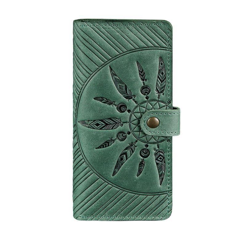 Кожаное женское зеленое портмоне Blanknote 7.0 Инди