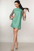 Красивое платье из льна с шифоновыми рукавами Лео 42-52 размеры фисташковое
