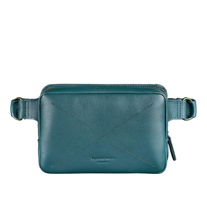 Кожаная женская поясная сумка Blanknote Dropbag Mini зеленая