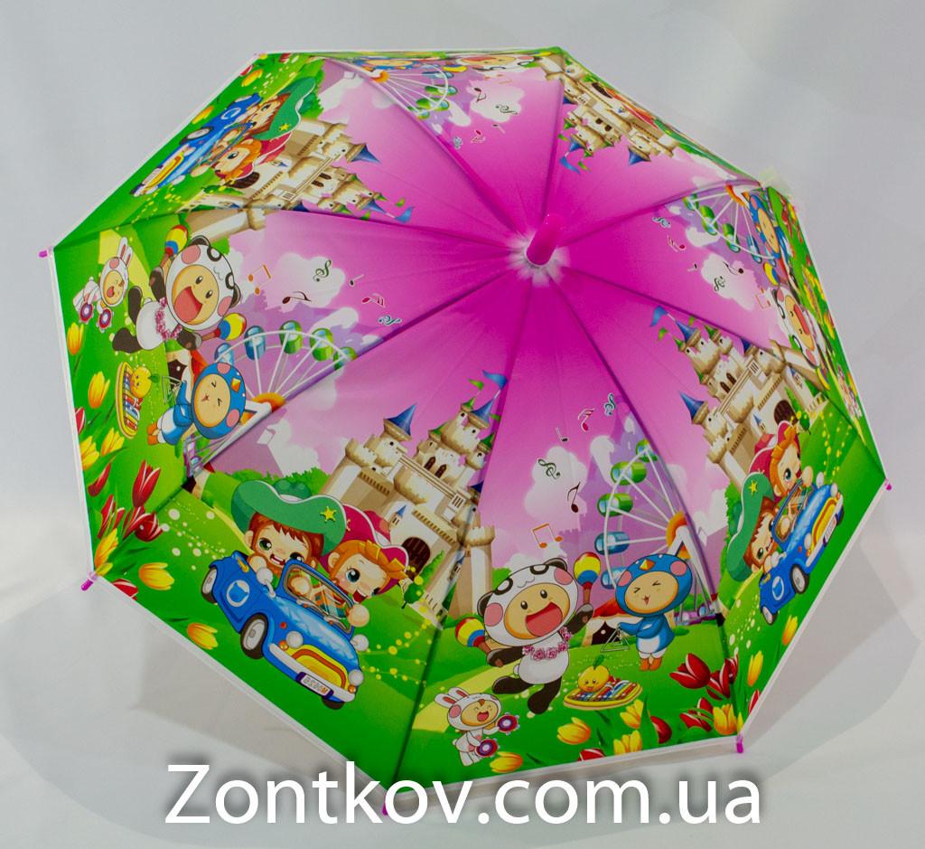 """Детский зонтик трость c ярким узором на 4-7 лет от фирмы """"Feeling Rain""""."""