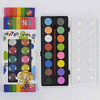 Краски акварельные для рисования, палитра 16 цветов, кисточка в наборе - 183650