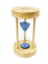 Песочные часы 15 минут на круглой деревянной подставке голубой  песок