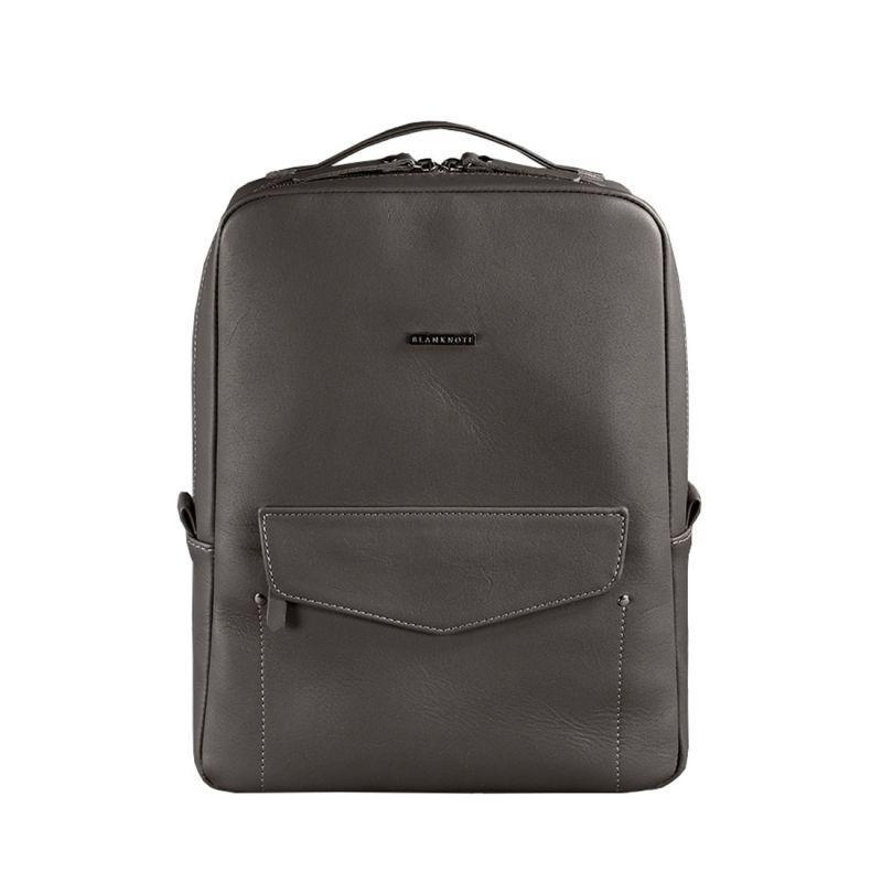 Кожаный городской женский рюкзак на молнии Blanknote Cooper темно-бежевый