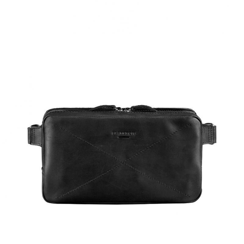 Кожаная поясная сумка Blanknote Dropbag Maxi черная Crazy Horse