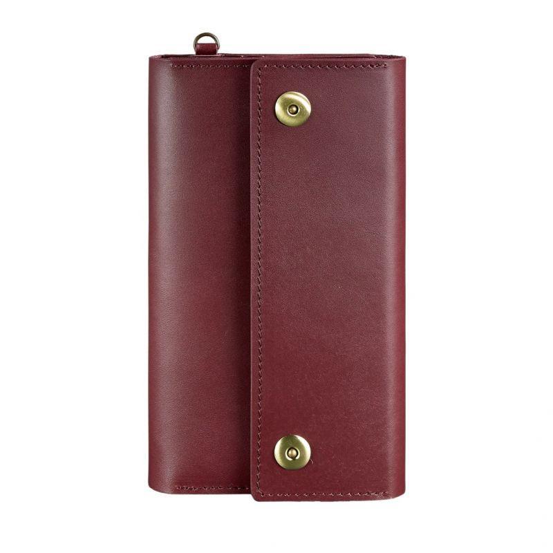Кожаный женский клатч-органайзер (Тревел-кейс) Blanknote 5.0 бордовый