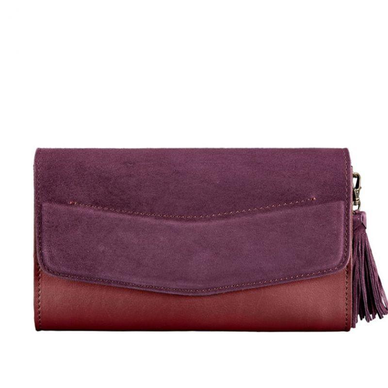 Женская кожаная сумка Blanknote Элис бордовая Велюр Krast