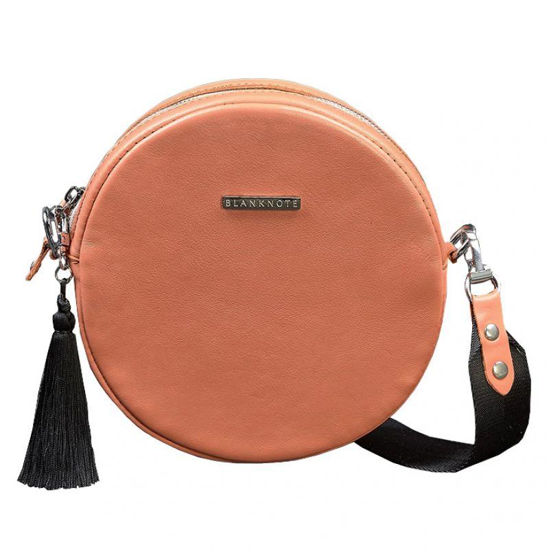 Круглая кожаная женская сумочка Blanknote Tablet коралловая