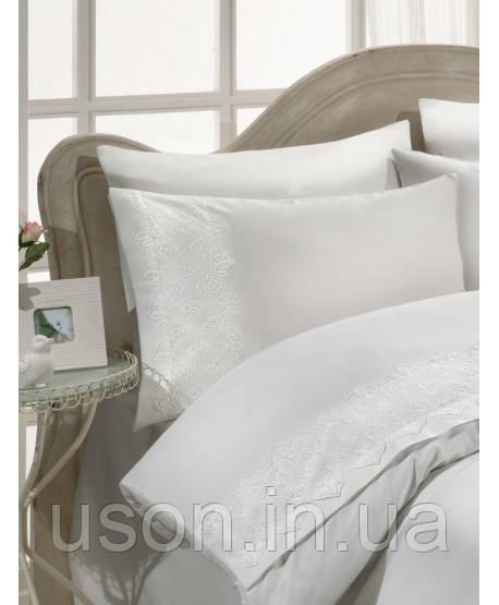 Комплект постельного белья сатин c гипюром  ТМ Gelin Home Pelin  white