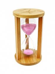 Песочные часы 60 минут на круглой подставке бамбук розовый песок