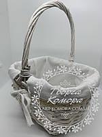 Корзина квадратная с текстильным декором, белая