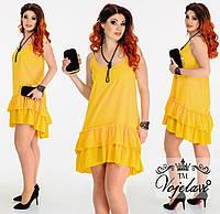 Короткое летнее нарядное платье-сарафан батал на брительках и с двойным воланом на юбке р.48-54. Арт-3069/41, фото 1