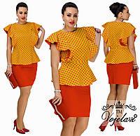 Яркий летний женский костюм-двойка больших размеров: блуза и прямая короткая юбка  р.48-54. Арт-3070/41, фото 1