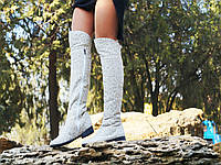 Сапоги женские льняные ботфорты на змейке Арт-0191