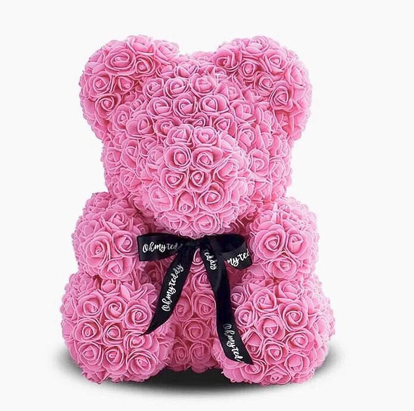 Мишко з троянд Bear Flowers 25 см рожевий