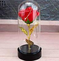 Роза в стеклянной колбе 19 см с подсветкой красная
