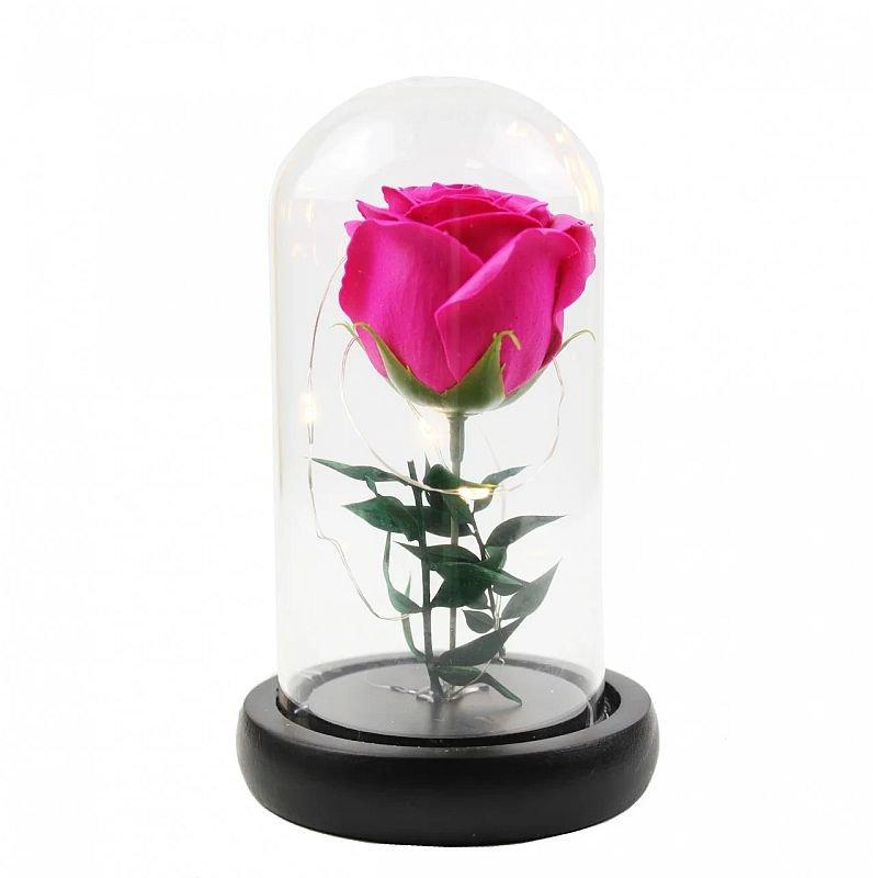 Роза в стеклянной колбе 17 см с подсветкой розовая