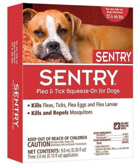Капли Sentry от блох, клещей и комаров для собак весом 15-30 кг 1 пипетка