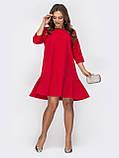 S,M,L Платье мини свободного кроя с рукавом три четверти и плиссировкой, фото 4