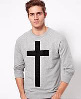 Свитшот мужской с крестом черный/серый
