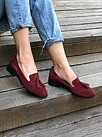 Стильные женские туфли с кисточками лоферы замшевые