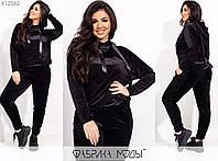 Спортивний костюм жіночий з велюру з блискітками (2 кольори) PY/-1013 - Чорний, фото 1