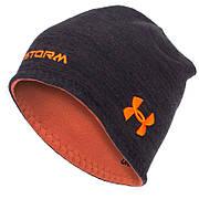 Шапка флисовая двухсторонняя UAR TY-1611 (флис, полэстер, цвета в ассортименте) (Черный-оранжевый)