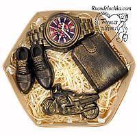 Мыло для мужчины в подарок в наборе туфли, часы, кошелек, мотоцикл