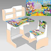 Парта школьная Утиные истории 69х45 см, 1 стул, бежево-белый - 181390