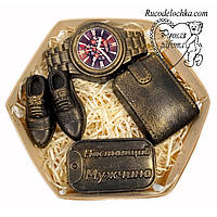 Мило для чоловіка в подарунок в наборі туфлі, годинник, гаманець, жетон