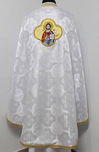 Священичі ризи з вишитою іконою, білий