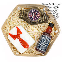 Мило для чоловіка в подарунок набір віскі, годинник, сорочка