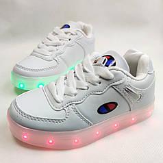 Детские светящиеся кроссовки для девочки с led подсветкой подошвы USB белые 28р