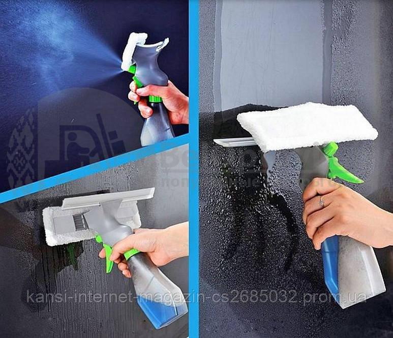 Щітка для миття вікон з розпилювачем Easy Glass 3 in 1 Spray Window Cleaner