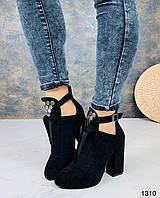 Ботильоны ботинки женские на высоком каблуке замшевые чёрные 40 41