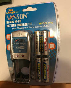 Зарядний пристрій + 4 акумулятора АА 2350 mAh упаковано в блістер