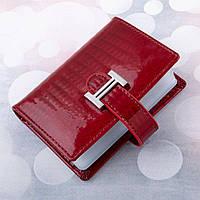 Кожаная визитница кредитница KAFA с блокировкой RFID-сигналов, красная