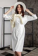 Элегантное белое платье с эко-кожи
