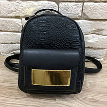 Рюкзак фактура крокодил с золотой вставкой (0517) Черный