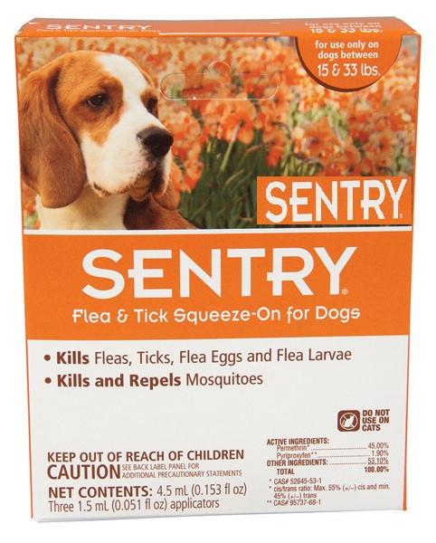 Капли Sentry от блох, клещей и комаров для собак весом 7-15 кг 1 пипетка