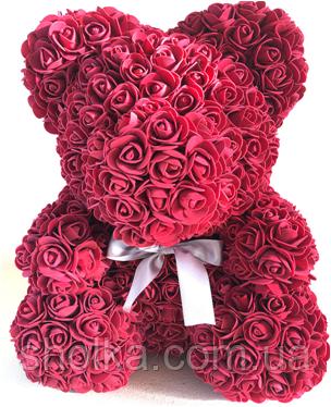 Мишка из искусственных роз 25 см (6 цветов)