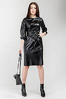 Элегантное кожаное платье черное