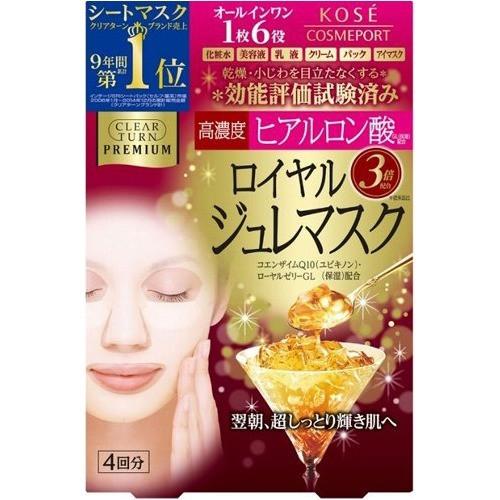 KOSE Clear Turn Premium Royal Jelly Mask Преміум маска з маточним молочком і гіалуронової кислотою, 4 шт