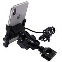 Тримач телефону WUPP CS-855A1, GPS для мото ( на руль + під дзеркало ) з USB, 12 - 30 В, 5 А, метал