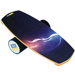Балансборд Ex-board Молния черный валик 13 см в резине (ex008-2), баланс борд, BALANCE BOARD, балансировочная доска, баланс тренажер, indo board,