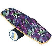 Балансборд Ex-board Градиент черный валик 13 см в резине (ex010-2), баланс борд, BALANCE BOARD, балансировочная доска, баланс тренажер, indo board,, фото 1